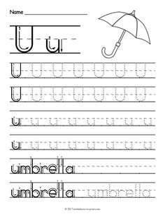 Letter U Worksheet Preschool Free Printable Tracing Letter U Worksheet Printable Alphabet Worksheets, Letter Worksheets For Preschool, Writing Practice Worksheets, Handwriting Worksheets, Preschool Letters, Free Printable, Handwriting Practice, Preschool Activities, Vowel Worksheets