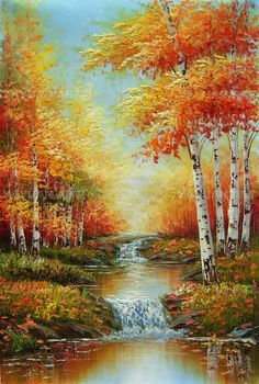 Birch Forest Scenery, Wholesale oil painting