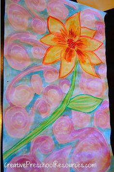 Simple Summer Art - crayon resist with water paint