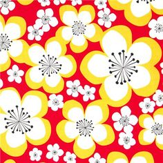red organic fabric white flowers blossom Robert Kaufman