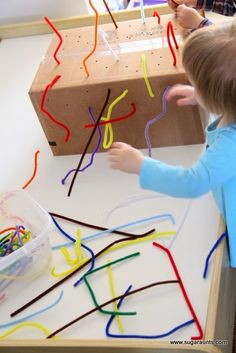 A box with holes and pipe cleaners - fine motor skills activities for toddlers and preschoolers Motor Skills Activities, Gross Motor Skills, Infant Activities, Preschool Activities, Writing Activities, Toddler Fine Motor Activities, Quiet Time Activities, Physical Activities, Toddler Crafts