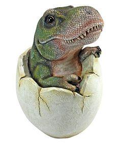 Design Toscano Baby Tyrannosaurus Rex Egg Hatchling Statue   zulily