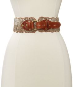 Motif 56 Women's An-Violet Belt, Cognac, Large Motif 56. $155.00. Leather belt/beaded. Beaded belt. India. 95% Beads/2% Elastic/3% Leather. Dry Clean Only. Hand made. Hand stitch beades. Made in India