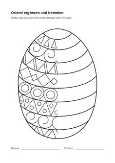 Kindergarten-KigaPortal-Easter Egg-complain and … - Easter Eggs Day Easter Art, Easter Crafts For Kids, Diy For Kids, Easter Eggs, Easter Worksheets, Art Worksheets, Easter Activities, Easter Printables, Spring Art