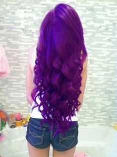 I wish my hair was this long and I wish I could pull off purple hair!