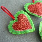 Set of 3 Felt Christmas Decorations - Red and Green Hearts