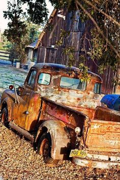 Abandoned Dodge pick up truck in front of an old barn Old Pickup Trucks, Farm Trucks, Dodge Trucks, Diesel Trucks, Cool Trucks, Pickup Camper, Big Trucks, Dodge Diesel, Dodge Pickup