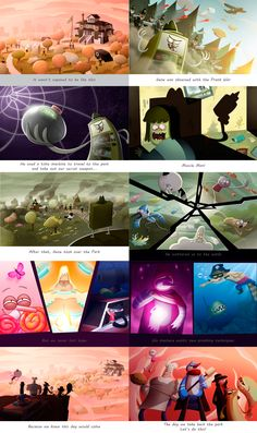 """Intro comic illustrations for Cartoon Network's """"The Great Prank War"""" game based on the Regular Show."""