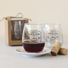 Personalized Aged to Perfection Stemless Wine Glasses