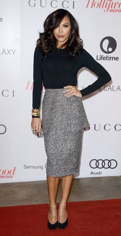 Naya Rivera in Michael Kors peplum dress at THR'S Women In Entertainment Breakfast, December 2013. Perfection!