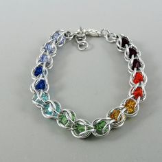Rainbow Swarovski Captured Chainmaille Bracelet by HCJewelrybyRose on Etsy