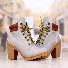 Botine Dama Gri Cu Toc Cod: 236p Timberland Boots, Shoes, Fashion, Moda, Zapatos, Shoes Outlet, Fashion Styles, Shoe, Footwear