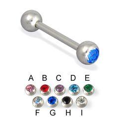 Single jewel straight barbell, 14 ga