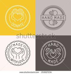 Hand made labels and badges vector graphic design - by venimo on VectorStock® Logo Design, Graphic Design, Massage Logo, Wooden Logo, Honey Packaging, How To Make Labels, Vinyl Paper, Heart Logo, Logo Food