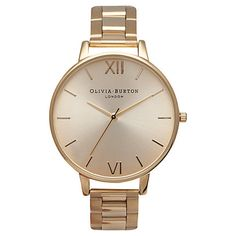 Buy Olivia Burton OB13BL08BS Women's Big Dial Bracelet Strap Watch, Yellow Gold Online at johnlewis.com
