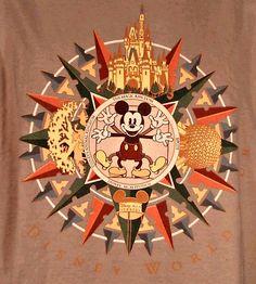 Disney Mickey Tour T Shirt Sz L WDW All Parks Four Arm / Leg Compass Castle USA