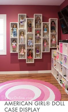 What a fabulous idea to display your American Girl Doll collection. What a fabulous idea to display your American Girl Doll collection. American Girl Storage, American Girl Crafts, American Girls, American Girl House, American Girl Doll Things, Doll Organization, Kids Bedroom Organization, Organizing Ideas, Girls Dollhouse