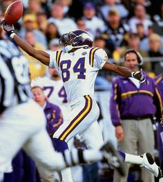 Randy Moss #84 - Moss burst onto the scene as a rookie, setting an NFL record for most TD receptions by a rookie with 17 and garnering numerous accolades including Offensive Rookie of the Year. He was selected to five Pro Bowls in his first seven seasons as a Viking, including being named Pro Bowl MVP in 2000. After stints with Oakland and New England, the Vikings re-acquired Moss in the fall of 2010.