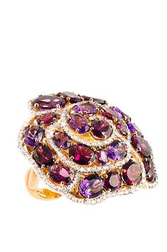 Rosamaria G Frangini   High Purple Jewellery   Haute Vault's 18K rose gold cocktail ring features a bold and beautiful rose composed of diamonds, amethysts and rhodolite. Ring Size 7 1/2