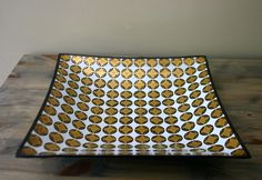 Unsigned Georges Briard Smoked Glass Square Tray. $24.00