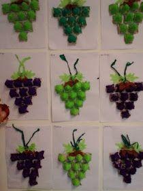 Játékos tanulás és kreativitás: Szőlő ötletek Preschool Art Activities, Autumn Activities, Autumn Crafts, Summer Crafts, Art N Craft, Craft Work, Art For Kids, Crafts For Kids, Fruit Crafts
