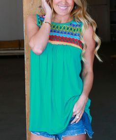 Green Geometric Embroidered Sleeveless Tunic