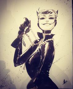 "Catwoman by Matteo Scalera #catwoman #dccomics #comics #comicbooks #matteoscalera #eccc2018 #seattle #originalartwork #brush…"""