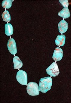 Genuine Turquoise Nugget Vintage Necklace - http://vintagedesignerclothing.net/product/genuine-turquoise-nugget-vintage-necklace/