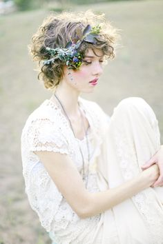 Earthy green natural flower crown