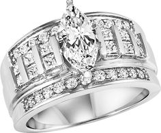 Marquis cut statement engagement ring with wedding band.