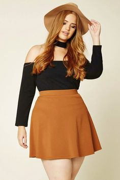 Forever 21+ - A skater skirt crafted from textured knit with an elasticized waist and an exposed back zipper.