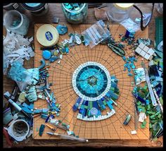 Not sure what they're making, but cool idea for globe mosaic siobhan allen mosaics - Google Search