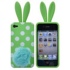 Capa Silicone Conejo iPhone 4 4S - Verde
