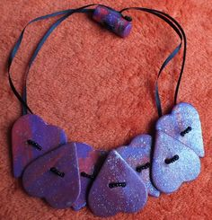 Fimo heart Button Necklace. £5.00, via Etsy.