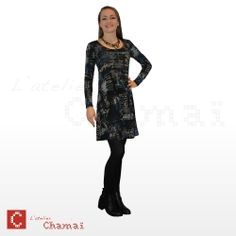 Robe Charly noire, imprimé graphique bleu, noir et écru
