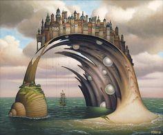 Turf Bay, 2006 by Jacek Yerka. Surrealism. landscape