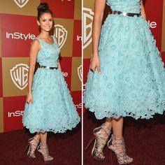 Nina Dobrev in Oscar de la Renta at the Golden Globes After Party