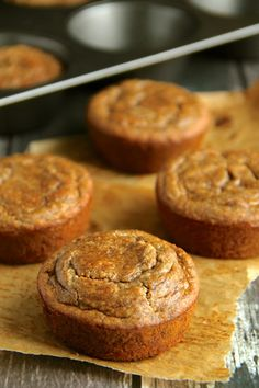 Vegan Flourless Banana Bread Muffins -- gluten-free, egg-free, refined sugar-free, dairy-free, and oil-free || runningwithspoons.com.