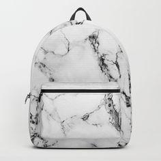 White Faux Marble Texture Backpack by artonwear Cute Mini Backpacks, Stylish Backpacks, Girl Backpacks, Leather Backpacks, School Backpacks, Leather Bags, Backpack For Teens, Small Backpack, Backpack Purse