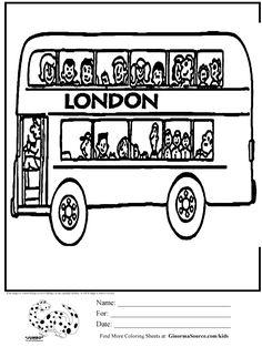 London Double Decker Bus Coloring Page