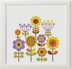 Set of 3 Floral Cross Stitch, Flower Cross Stitch Pattern, Modern Colorful Embroidery Chart, Printable PDF, Baby Decor Birthday Gift Funny and Easy ❤ ❤ ❤ You can always find and download them here: You> Purchases and reviews ❤ PATTERN DETAILS ❤ 3 PDF Pattern Stitches: 98 X 98, 98