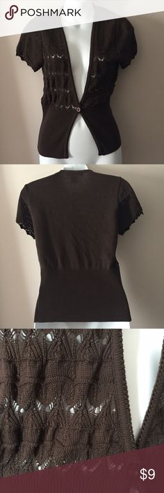 """NY Collection brown knit short sleeve cardigan Like new NY Collection brown knit short sleeve cardigan. Size small. 22"""" long. NY Collection Tops"""
