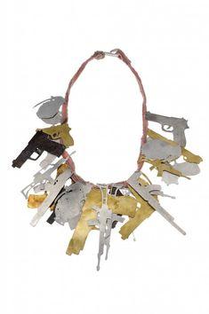 Malaïka Najem - necklace Camouflage 2009, shibuichi, 18ct gold, yellow sapphire