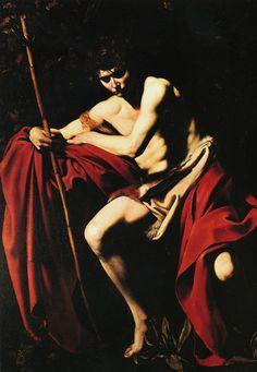 1600 Le Caravage Saint Jean Baptiste, Huile sur Toile, 173x133 cm