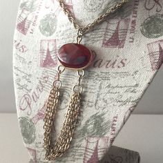 Sarah Coventry Necklace, Amber Pendant tassel Necklace, Gold tone chains, Sarah Cov Tassel Necklace, Amber Vintage Sarah Cov by VintageFlowerTop on Etsy