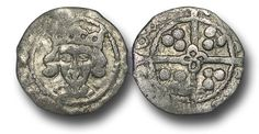 Edward IV (1461-1483), Penny, 0.55g., Heavy Cross and Pellets Coinage (1465), Waterford mint, crowned facing bust of Edward, rev.,  long cross with quatrefoil at the centre, (S.-; JBurns W-2H (type 2) plate coin),  very fine