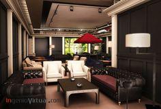 ingeniovirtual.com - Infografía para proyecto de interiorismo en Hotel, sala de fumadores con licencia.