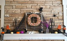 halloween mantel w/martha stewart labels