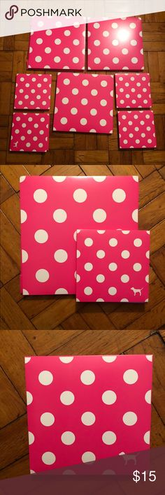 Vs pink gift boxes 3 large and 4 medium Vs Pink gift boxes. Double sided with pink polka dot print & mini dog logo on the smaller boxes. PINK Victoria's Secret Bags