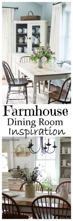 Get ideas and inspiration from a collection of farmhouse dining rooms and make it easier to add that special farmhouse touch to your dining room.